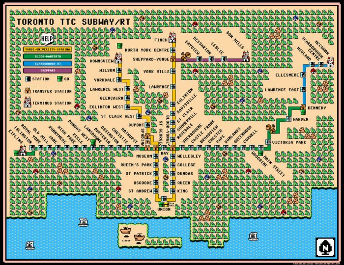 Toronto subway map in SMB3 style