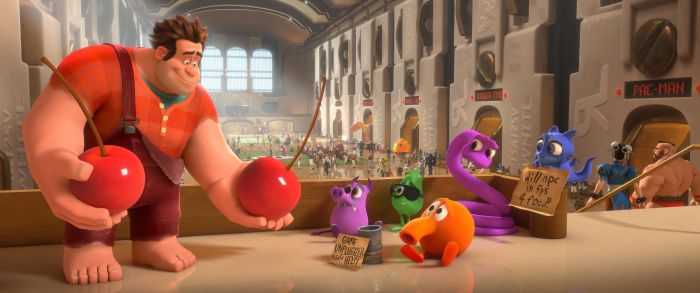 Disney's Wreck-It Ralph (left) offers cherries to an out-of-work Q*bert.