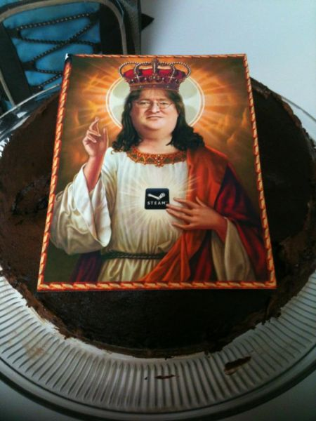 I asked my parents for a Gabe Newell birthday cake. I really didn't expect this... : gaming