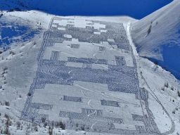 Space Invaders Snow Art by Simon Beck