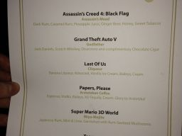 BAFTA cocktail menu